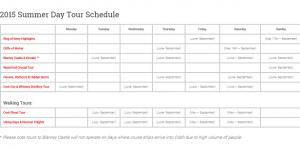2015 Summer Day Tour Schedule